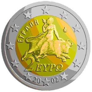 Raffigurazione sulla moneta greca da 2 Euro di Europa rapita da Giove