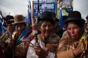 Boliviane in protesta a La Paz