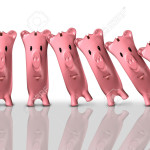 Financial collapse concept and economic crisis symbol as a group of piggy banks falling like domono pieces as a finance trouble and bankruptcy risk metaphor as a 3D illustration.